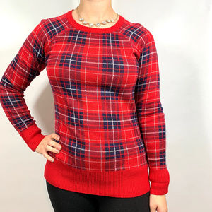 Merona Red Blue Tartan Plaid Pullover Sweater